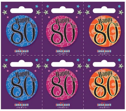 Age 80 Small Badges (5.5cm)