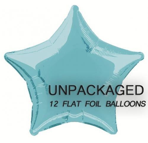 "Baby Blue - Star Shape - 20"" foil balloon (Pack of 12, Flat)"