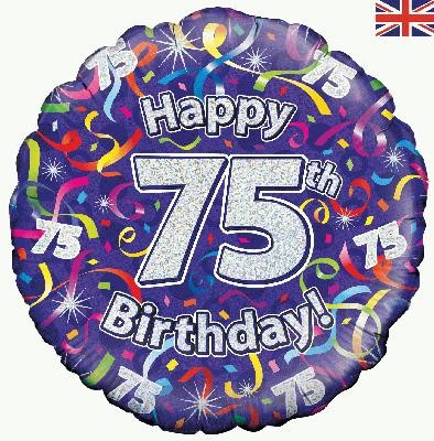 """Happy 75th Birthday Streamers Holographic - 18"""" foil balloon"""