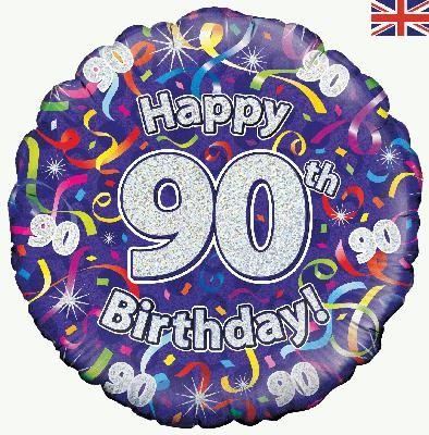 """Happy 90th Birthday Streamers Holographic - 18"""" foil balloon"""