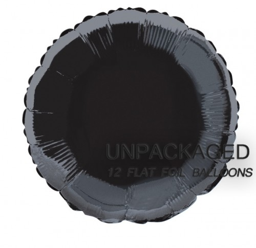 "Black - Round Shape - 18"" foil balloon (Pack of 12, Flat)"