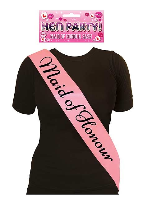 Sash Maid Of Honour Pink with Black Text