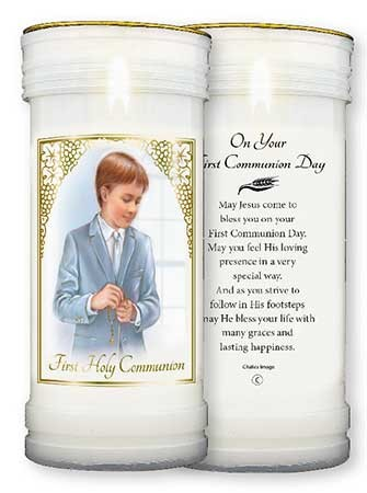 Pillar Candle - First Holy Communion - Boy - Pack of 4