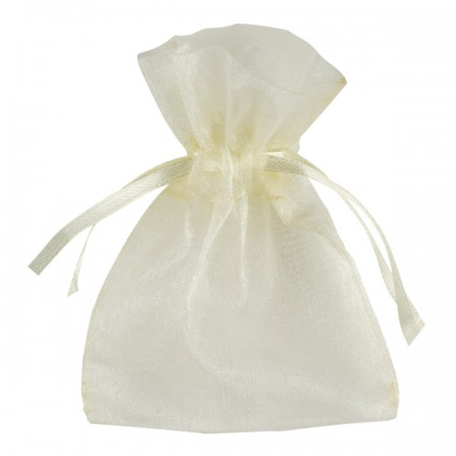 Small Organza Pouch 100 x 75mm Ivory - 10 per pack