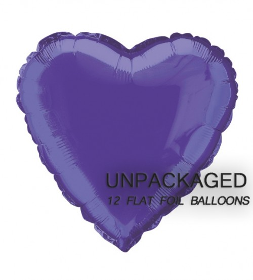 "Deep Purple - Heart Shape - 18"" foil balloon (Pack of 12, Flat)"