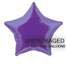 "Deep Purple - Star Shape - 20"" foil balloon (Pack of 12, Flat)"