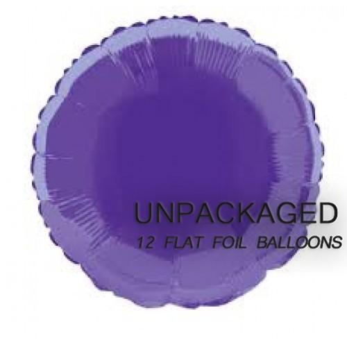 "Deep Purple - Round Shape - 18"" foil balloon (Pack of 12, Flat)"