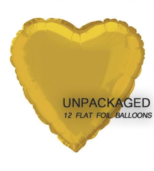 """Gold - Heart Shape - 18"""" foil balloon (Pack of 12, Flat)"""