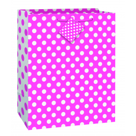 Hot Pink Dots Gift Bag Large (12 gift bags ,.79 cent each )