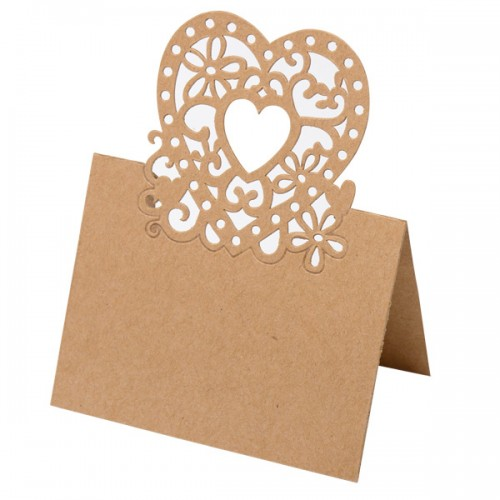 Place Card Lazer Heart 80 x 120mm Kraft Brown - 10 per pack