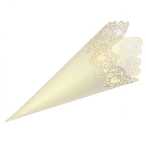Confetti Cone Lazer Heart H.190mm Ivory - 10 per pack