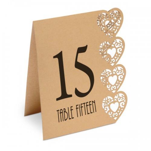 Table Numbers 1-15 Lazer Heart 125 x 155 x 40mm Kraft Brown - 15 per pack
