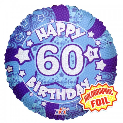 """Happy 60th Birthday Blue Holographic - 18"""" foil balloon"""