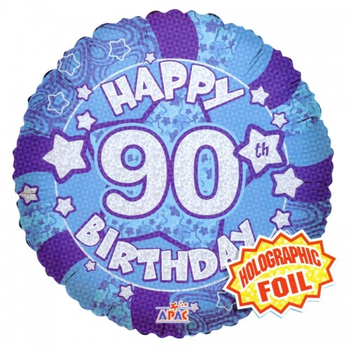 """Happy 90th Birthday Blue Holographic - 18"""" foil balloon"""