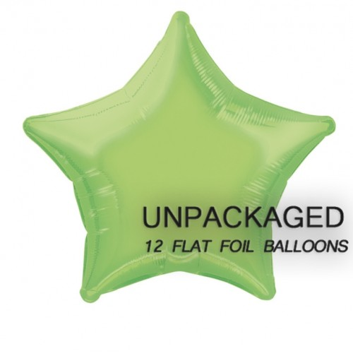 "Lime Green - Star Shape 18"" foil balloon (Pack of 12, Flat)"