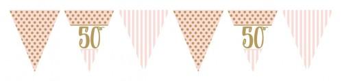 Pink Chic - Age 50  - Pink Metallic Flag Bunting 3.7m