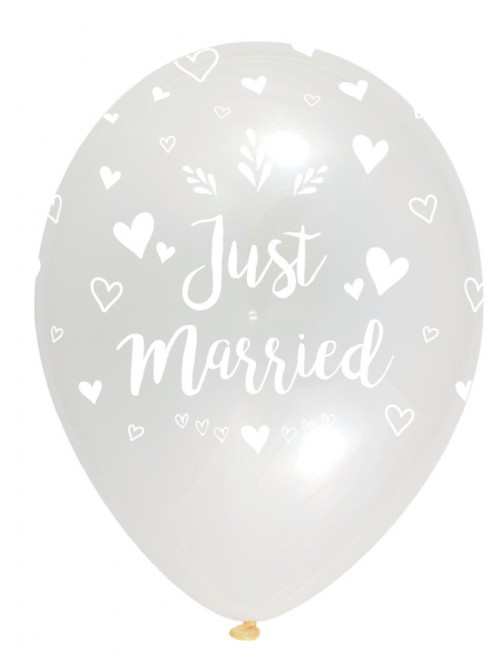 Just Married - Crystal Clear - Latex Balloon 50Ct