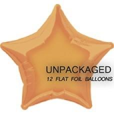 """Orange - Star Shape - 20"""" foil balloon (Pack of 12, Flat)"""