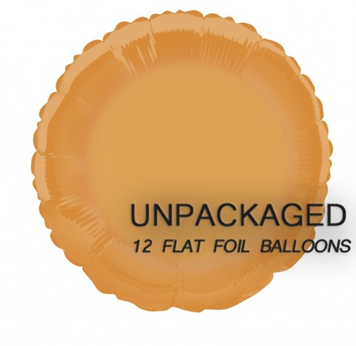 "Orange - Round Shape - 18"" foil balloon (Pack of 12, Flat)"