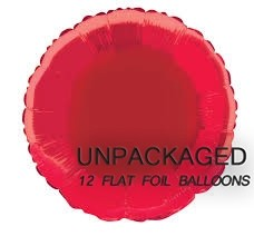 "Red - Round Shape - 18"" foil balloon (Pack of 12, Flat)"