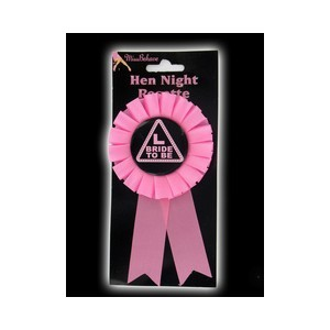 Bride To Be Rosette Badge - Hen Night Party Pink L Bride To Be Rosette