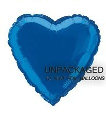 "Royal Blue - Heart Shape - 18"" foil balloon (Pack of 12, Flat)"