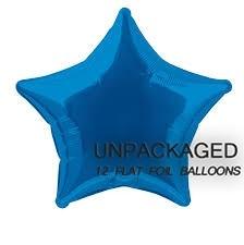 "Royal Blue - Star Shape - 20"" foil balloon (Pack of 12, Flat)"