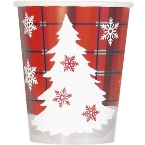 9 Oz. Cups 8CT. - Rustic Christmas Plaid 12 Pk