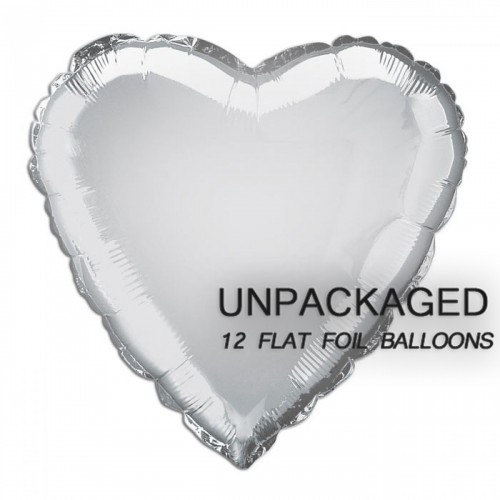 "Silver - Heart Shape - 18"" foil balloon (Pack of 12, Flat)"