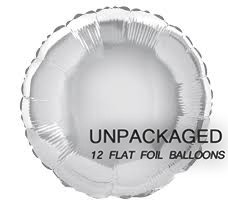 "Silver - Round Shape - 18"" foil balloon (Pack of 12, Flat)"