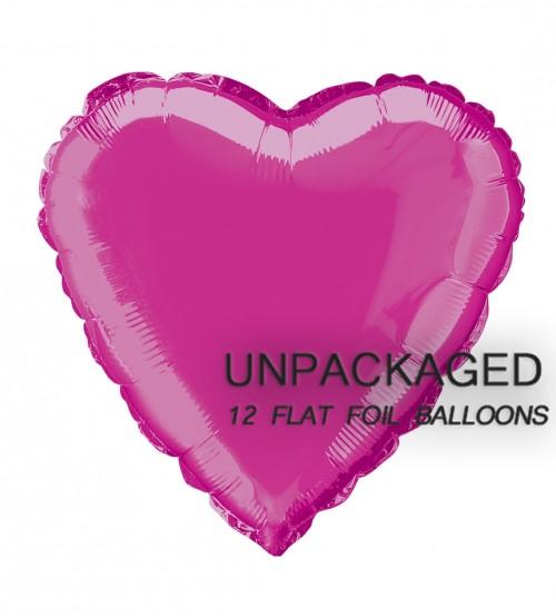 """Hot Pink - Heart Shape - 18"""" foil balloon (Pack of 12, Flat)"""