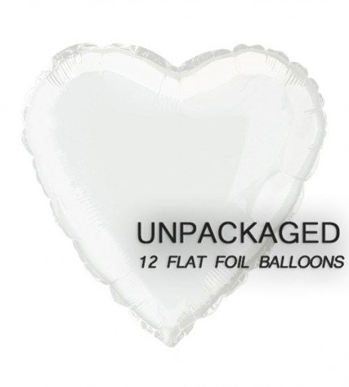 "White - Heart Shape - 18"" foil balloon (Pack of 12, Flat)"