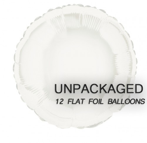 """White - Round Shape - 18"""" foil balloon (Pack of 12, Flat)"""