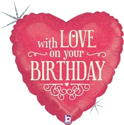 """with love on your Birthday Happy Birthday 18"""" Foil Balloon"""