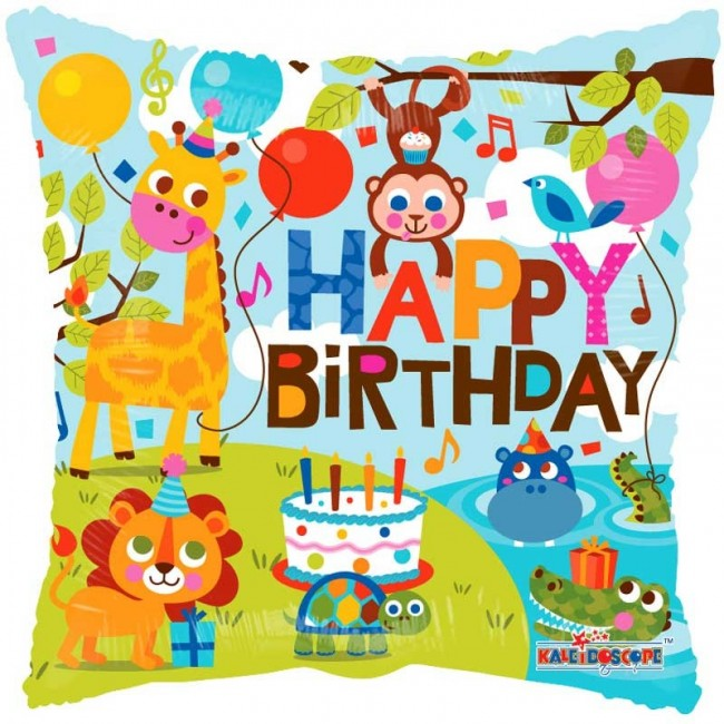 Happy Birthday Zoo Animals 18inch Foil Balloon