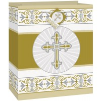 Radiant Cross Giftbag Medium Gold/Silver