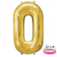 "34"" Gold Number 0 foil balloon"