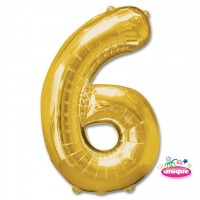 "34"" Gold Number 6 foil balloon"
