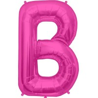 "Hot Pink Letter B Shape 34"" Foil Balloon"