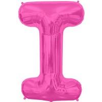 """Hot Pink Letter I Shape 34"""" Foil Balloon"""
