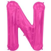 "Hot Pink Letter N Shape 34"" Foil Balloon"