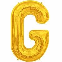 """Gold Letter G Shape 34"""" Foil Balloon"""
