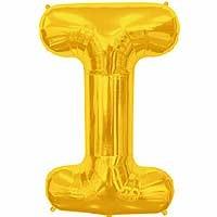"""Gold Letter I Shape 34"""" Foil Balloon"""