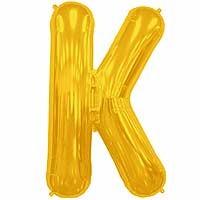 """Gold Letter K Shape 34"""" Foil Balloon"""