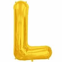 """Gold Letter L Shape 34"""" Foil Balloon"""