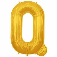 "Gold Letter Q Shape 34"" Foil Balloon"