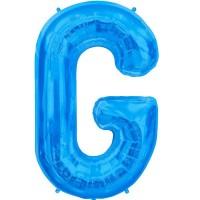 """Blue Letter G Shape 34"""" Foil Balloon"""