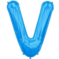 """Blue Letter V Shape 34"""" Foil Balloon"""