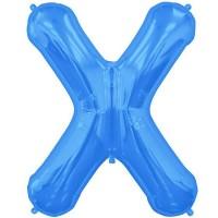 "Blue Letter X Shape 34"" Foil Balloon"