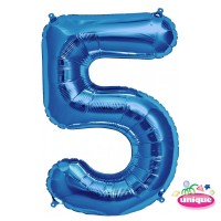 "34"" Blue Number 5 Foil Balloon"